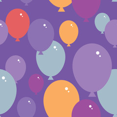 Seamless pattern with balloons. Purple, pink, blue, orange background. vector