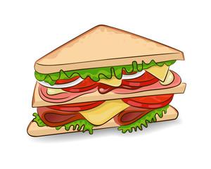 Сэндвич. Вектор, изолированный