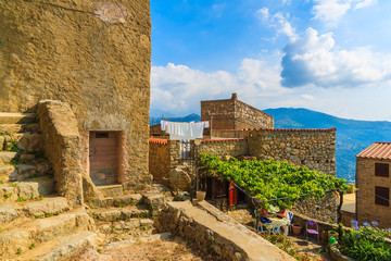Fototapete - Traditional houses in old medieval village of Sant Antonino, Corsica island, France