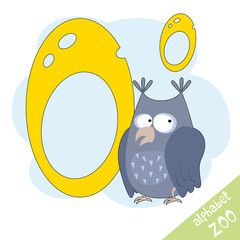 Hand drawn letter O and funny cute owl. Children's alphabet in cartoon style, vector illustration.