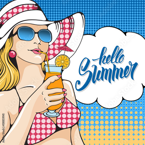 "Vector Vintage Pop Art Beach Holiday Illustration Stock: ""Young Women Holding Tropical Cocktail On The Beach. Pop"
