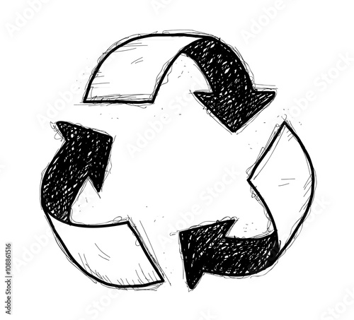 Recycle Symbol Doodle A Hand Drawn Vector Doodle Illustration Of A