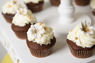 Delicious sweet buffet with cupcakes. Sweet holiday buffet with