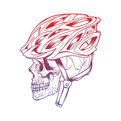 Vector illustration of stylized skull wearing a cyclist helmet.