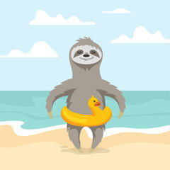 Vector illustration of happy cute sloth on the beach.