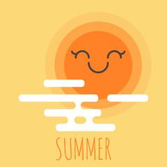 Vector illustration of cartoon summer background