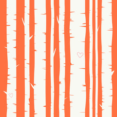 Seamless vector background with birch forest