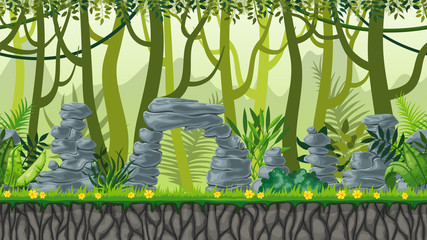 Seamless nature jungle landscape with separate layers