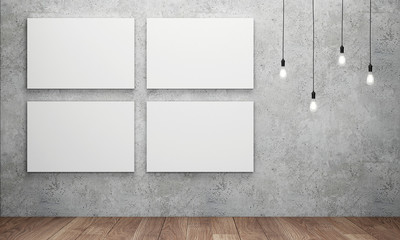 Blank white canvas with glowing light bulbs. 3D rendering