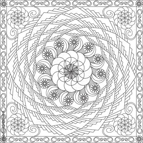 Page Coloriage Pour Adultes Livre Design Motif Fleur Geometrie