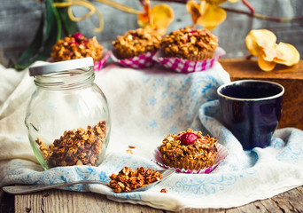 vegan oat muffins with cherries and granola, healthy dessert