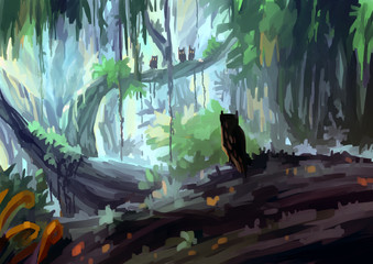 illustration digital painting jungle owl