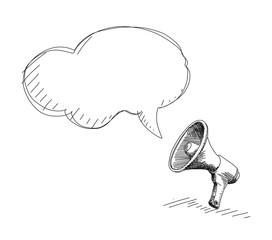 Megaphone Drawing with speech bubble