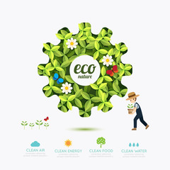 Ecology infographic green gear shape with farmer template