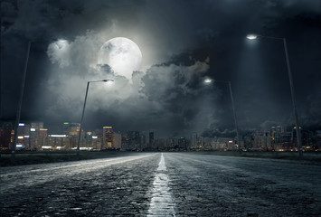 road in city at night ..