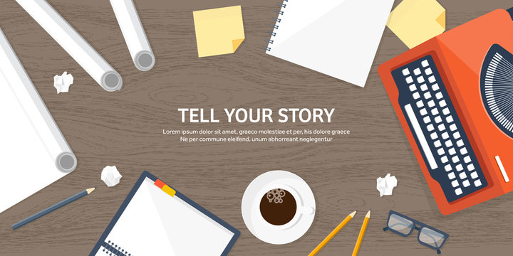 Vector illustration.  Flat typewriter. Tell your story. Author. Blogging.Wooden txture, wood.
