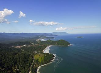 Aerial View of Sao Sebastiao Coastine, Sao Paulo, Brazil