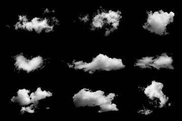 Poster Heaven Set of isolated clouds on black background.