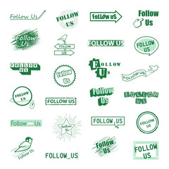 Follow Us Icons Set-Isolated On White Background-Vector Illustration,Graphic Design