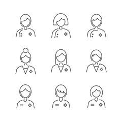Line Style Medical Avatar icon set