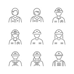 Line Style Medical Avatar Rescuers icon set