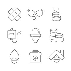 Line Icons Set Of Medical Pharmacist Icons