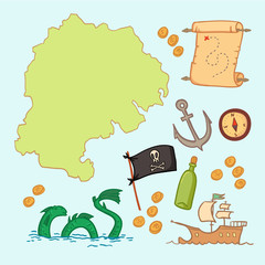 Hand drawn vector illustration - treasure map and design element