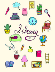Set of isolated library icons