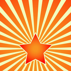 Victory Day. Red Star on the background of the rays. Postcard, placard, poster - vector illustration. EPS 10.