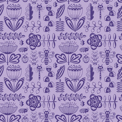 doodle seamless pattern with flowers, bugs and dragonfly