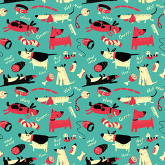 vector seamless pattern with cartoon funny dogs