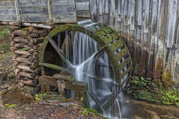 Grist Mill Water Wheel In Cades Cove