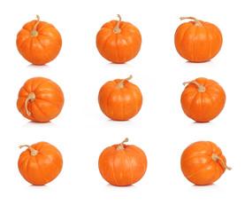 Ripe pumpkins on white background