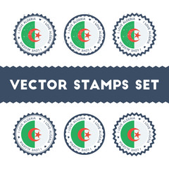 I Love Algeria vector stamps set. Retro patriotic country flag badges. National flags vintage round signs.
