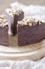 Pancake chocolate cake with chocolate sauce