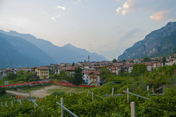 village, mountains, vineyards in Italy