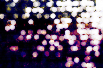 White on blue bokeh background with halftone effect