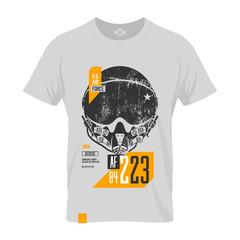 Modern american air force grunge effect tee print vector design.  Premium quality superior pilot helmet logo concept. T-shirt mock up.