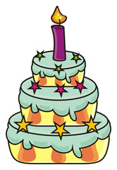 candle, illustration, cake, dessert, pastry, sweet, layers, isolated, cartoon, holiday, birthday, blue, stars, one, happy birthday