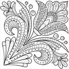 Floral design coloring page