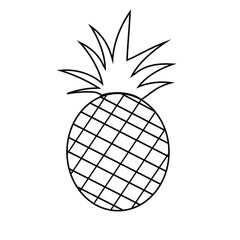 Pineapple fruit outline version for coloring book  vector illust