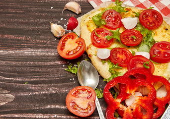 Vegetarian food concept. Cheese pita  and vegetables