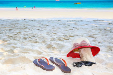 white sand and sea with blue sky for relax and slow life