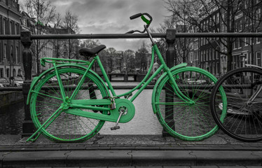 Green bike black and white background