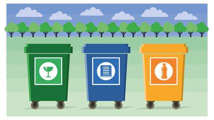 separate eco-friendly waste bins