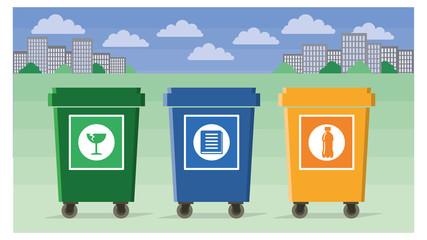 separate garbage bins