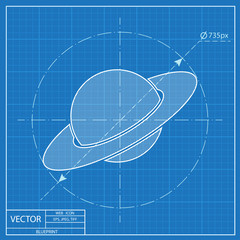 saturn planet silhouette icon. Blueprint style