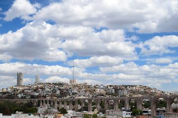 View to aqueduct and cityline of Queretaro city