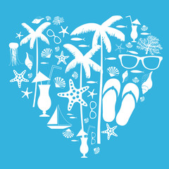 Summer vacation. Travel background drawing. Palm trees, coral, starfish, flip flops, sunglasses , seashells.  Vector illustration.
