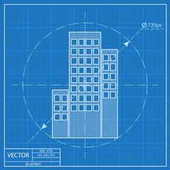 buildings icon. Blueprint style